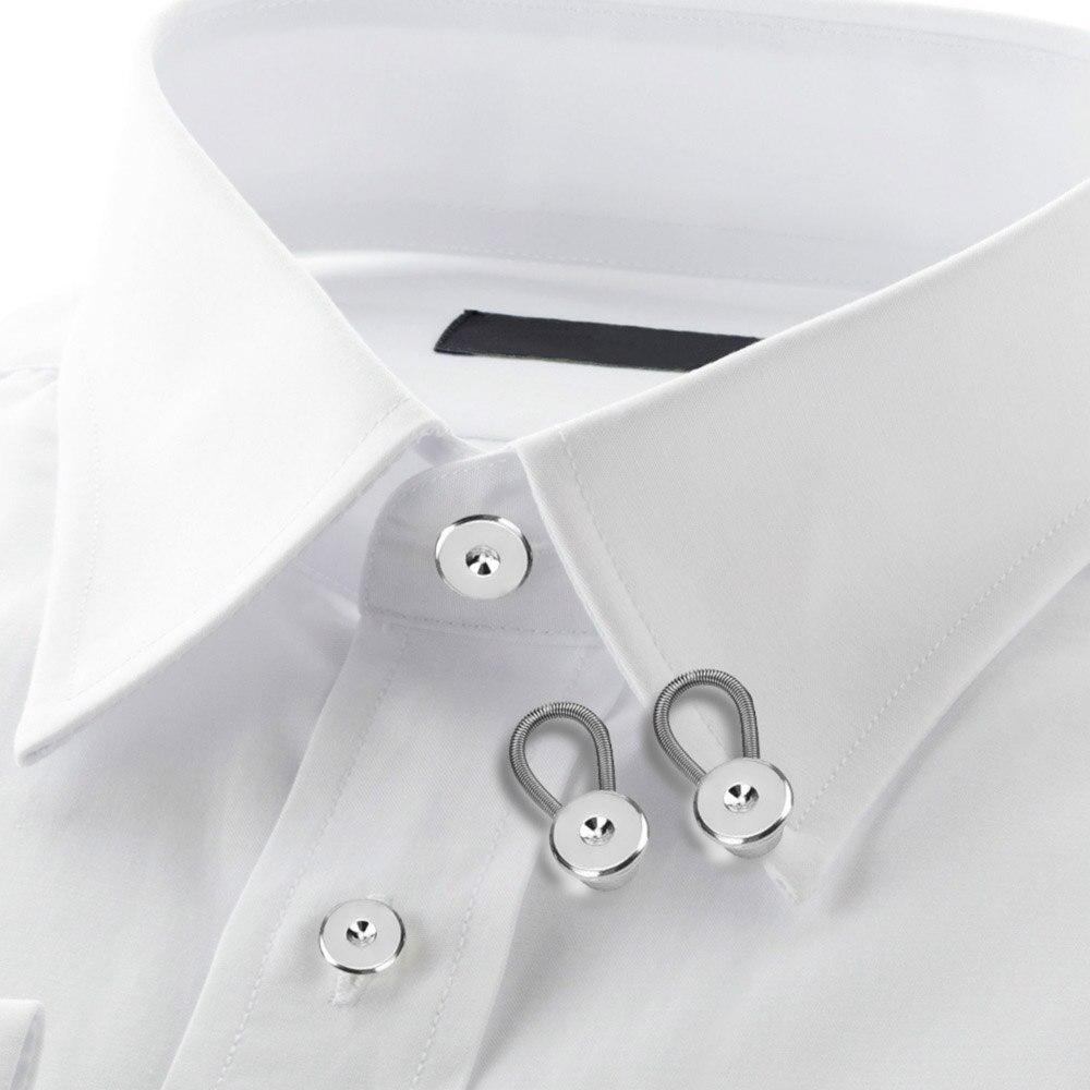 Wholesale lace shirt extender - 12pcs Metal Shirt Collar Extenders Stretch Collar Neck Extenders Elastic Collar Button For Dress Shirt