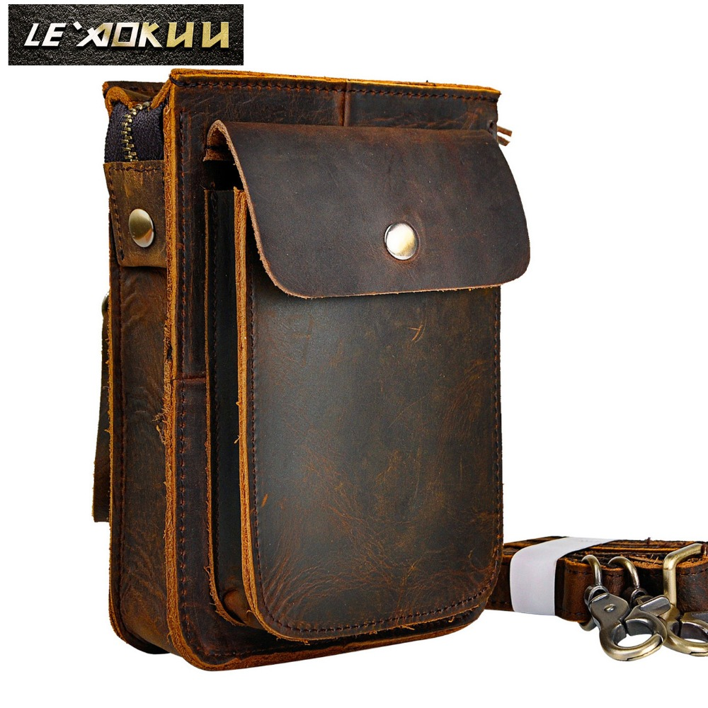 Crazy Horse Leather Multifunction Casual Daily Fiber Messenger - Beg pinggang