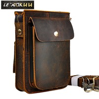 Crazy Horse Leather Multifunction Casual Daily Fashion Small Messenger One Shoulder Bag Designer Waist Belt Bag Phone Pouch 021