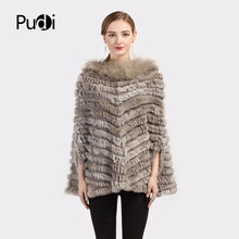 Pudi CK705 Knit knited rabbit fur Shawl poncho stole shrug cape robe tippet amice wrap raccoon fur collar