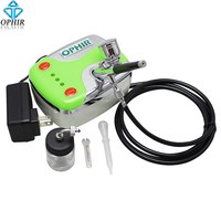 OPHIR 0.3 milímetros Airbrush Kit com DC 12 V Verde Mini Set Compressor de Ar para Aerógrafo Decoração Do Bolo Bolo de Ferramentas _ AC002G + AC005|for cake|decorating kit|tools for cake decorating -