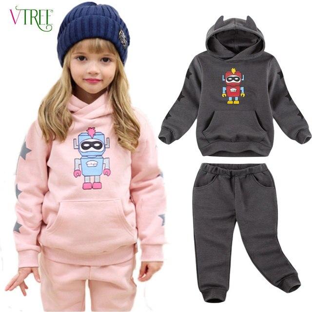 V-TREE Children's velvet clothing set 2016 winter tracksuit for girls boys sports suit roupas infantis menino clothes sets
