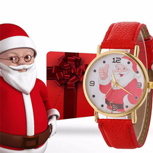 Women Santa Claus Creative Pattern Quartz Watch Leather Strap Belt Table Watch Chrismas Gift Casual Buainess Watch P6