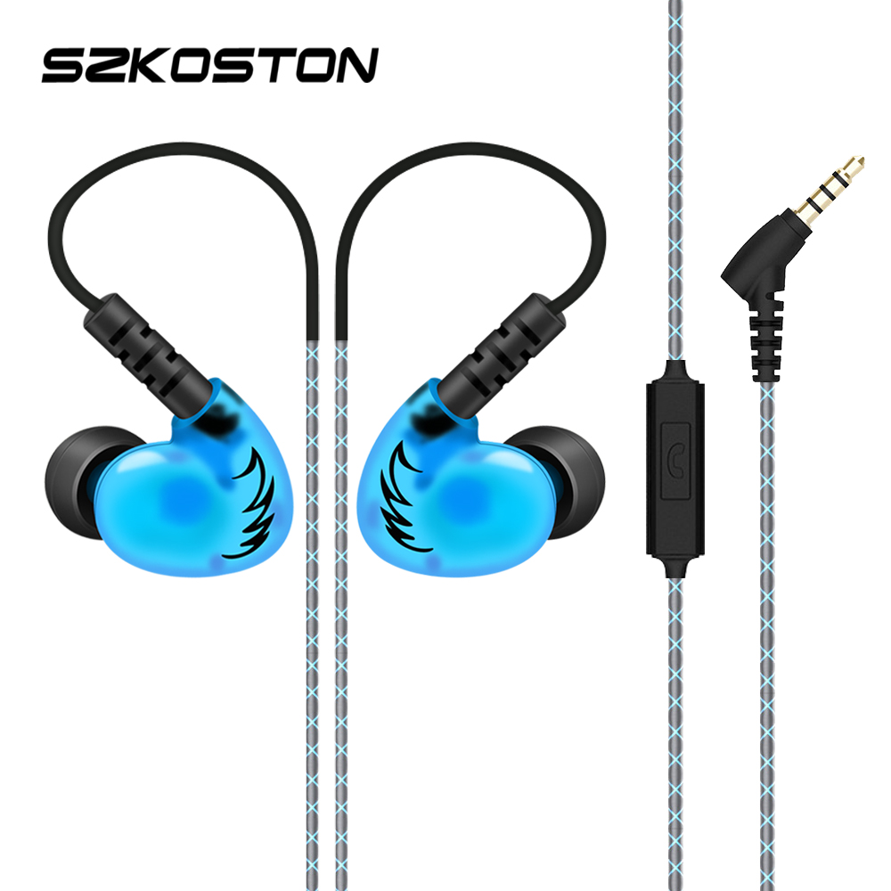 SZKOSTON Sport Waterproof Earphone Headphones 3D Stereo Headset With HD Mic Handsfree Call For All Phones xiaomi iphone Samsung kz ed2 stereo earphone headphones headset 3 5mm earphone earbuds for all phone with mic and remote