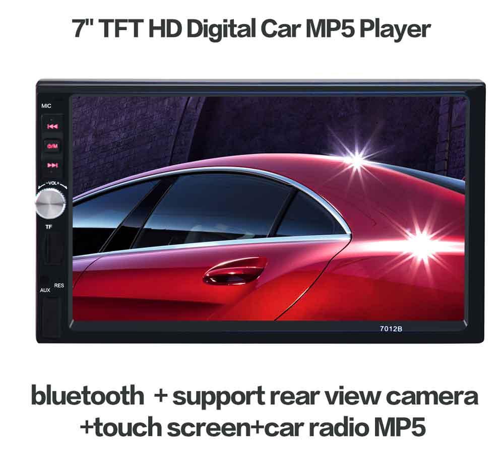 7012B 7 Pouce Bluetooth TFT Écran Tactile Voiture Audio Stéréo MP5 lecteur 12 V Auto 2-Din Soutien AUX FM USB SD MMC JPEG, WMA, MP4