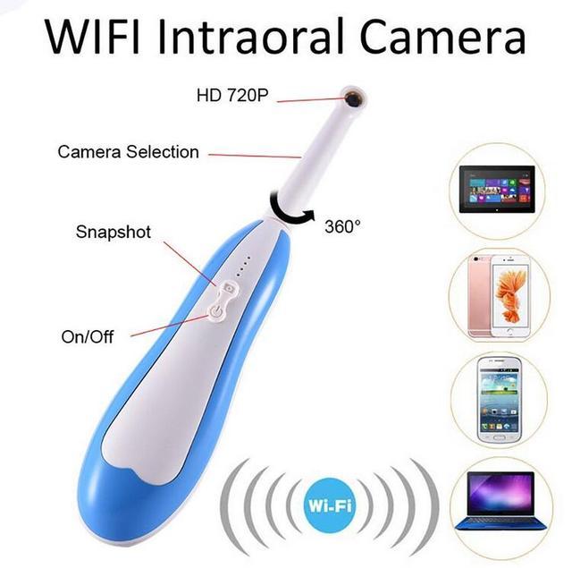 HD Intraoral Endoscope Wireless Dental Camera, WIFI LED Light Monitoring Inspection Teeth Photo Shoot Dentist Intra Oral Camera