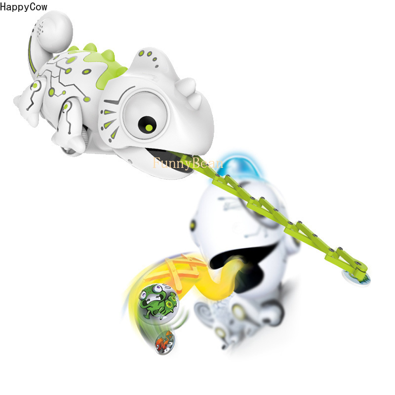 R/C Chameleon Plastic Cartoon Toy Catch Food by Magnetic 4pcs Iron Insect Funny House Playing Game for LIttle Baby Animal Robots