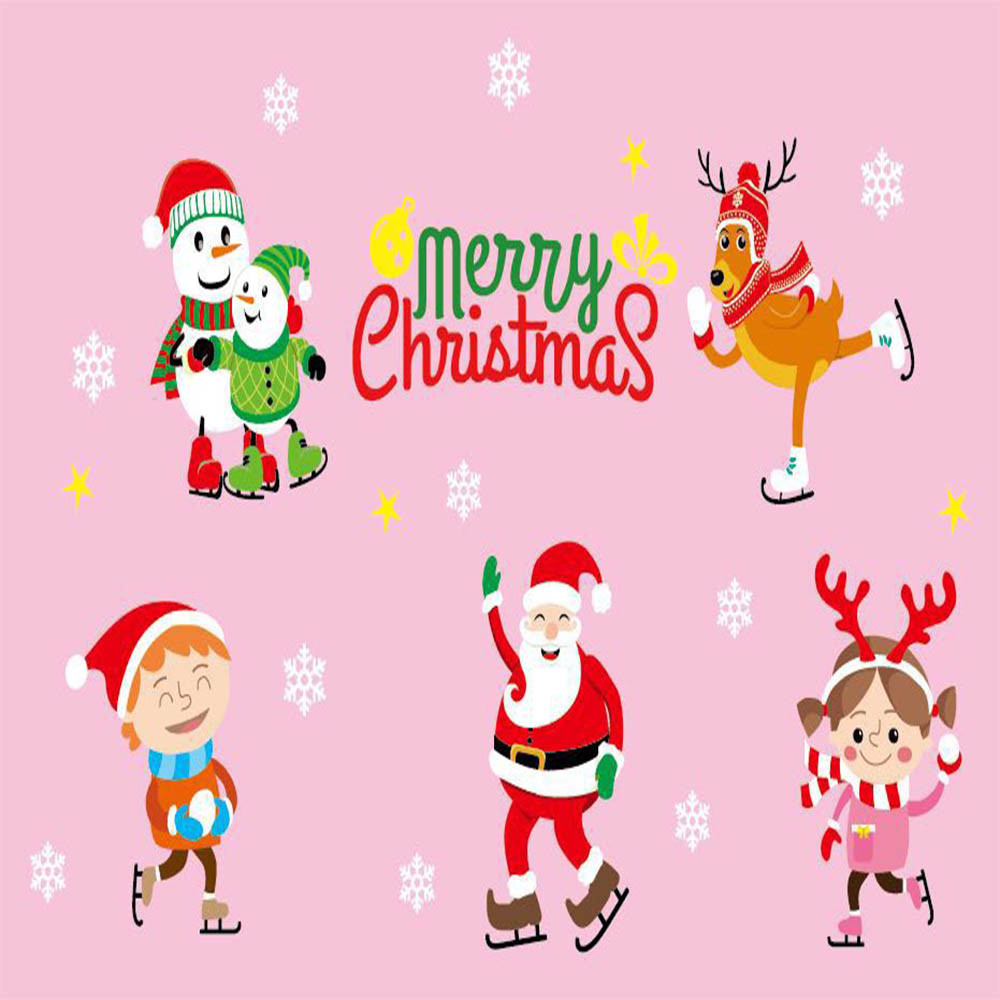 Merry Christmas Window Stickers Static Electricity Removable Home Room For Shop &Bedroom