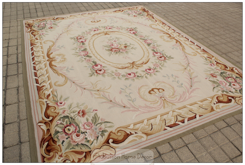 Free Ship 8x10 French Pastel Colors Aubusson Area Rug