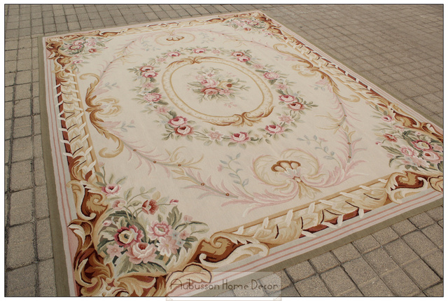 8x10 French Pastel Colors Aubusson Area Rug Wool Hand Woven Carpet
