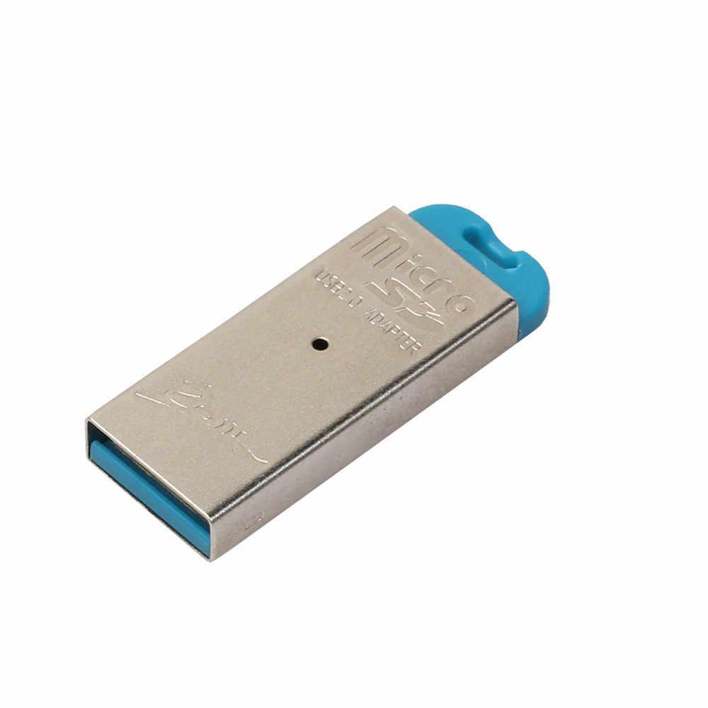 قارئ بطاقات عالية السرعة USB صغير 2.0 مايكرو SD TF T-Flash ذاكرة محوّل قارئ البطاقات 480 Mbps للكمبيوتر/ماك الكمبيوتر مع منفذ USB