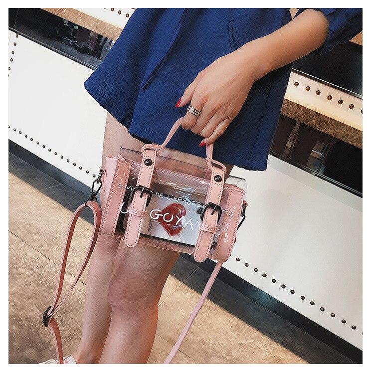 Fashion Women Handbags Transparent Jelly Bags Beach Bag 2018 Hit Color Wild Cylinder Handbag