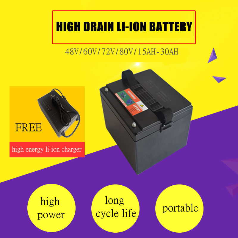 High power 48V 15AH 20AH 30AH Lithium Li ion Rechargeable battery for electric bikes and 48V