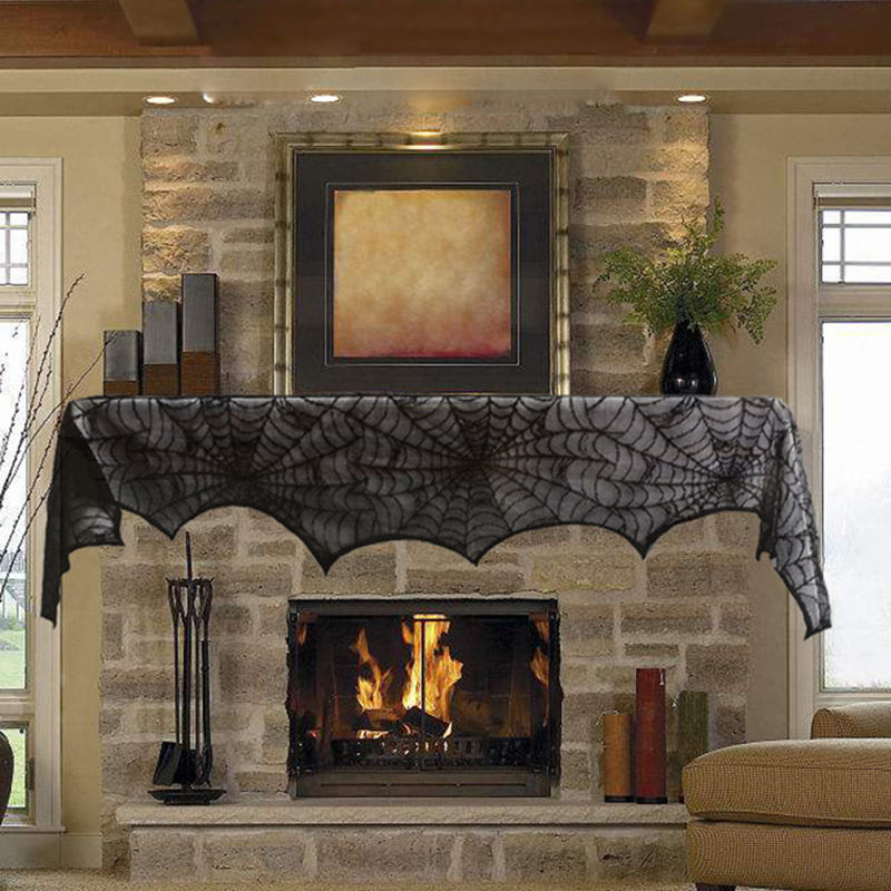 quickdone black lace spider cobweb fireplace mantel scarf halloween decorations for home festive party supplies hg0573 - Quick Halloween Decorations