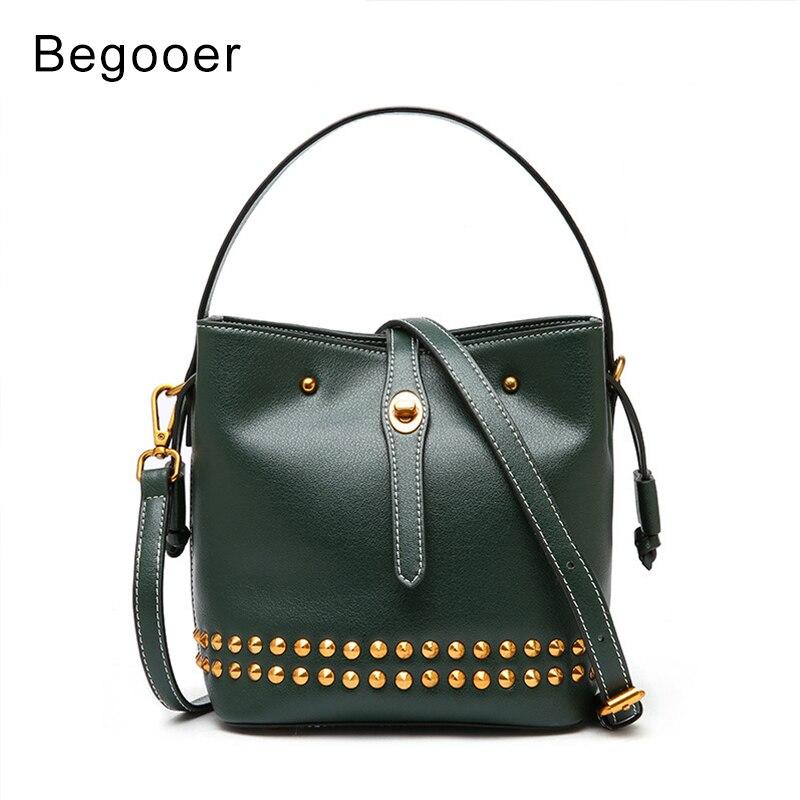 2018 Women Handbag Rivet Genuine Leather Female Crossbody Messenger Bag Korean Style Studded Bag For Teenger