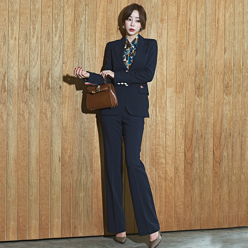 New Arrival Women's OL Professional Temperament Single Breasted Fashion Warm Solid Suit And Slim Pant Comfortable Two-piece Set