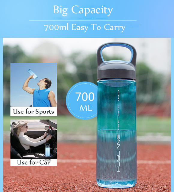 700ml Hot Sports Water Bottle Portable Camping Cycling Bottle of Water BPA Free Drinking Shaker Soft Plastic Bottle