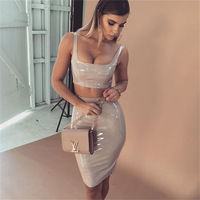MUXU two piece set summer clothes for women sexy bodycon black PU leather backless fashion short latex sundress suspender dress