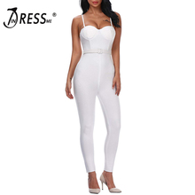 INDRESSME Women Full Length Bandage Jumpsuits Sexy Spaghetti Strap Club Party Jumpsuits Vestidos 2018
