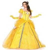 Длинное желтое платье красавицы и чудовища Белл костюм на Хэллоуин платье принцессы Белль маскарадный Карнавальный костюм для взрослых