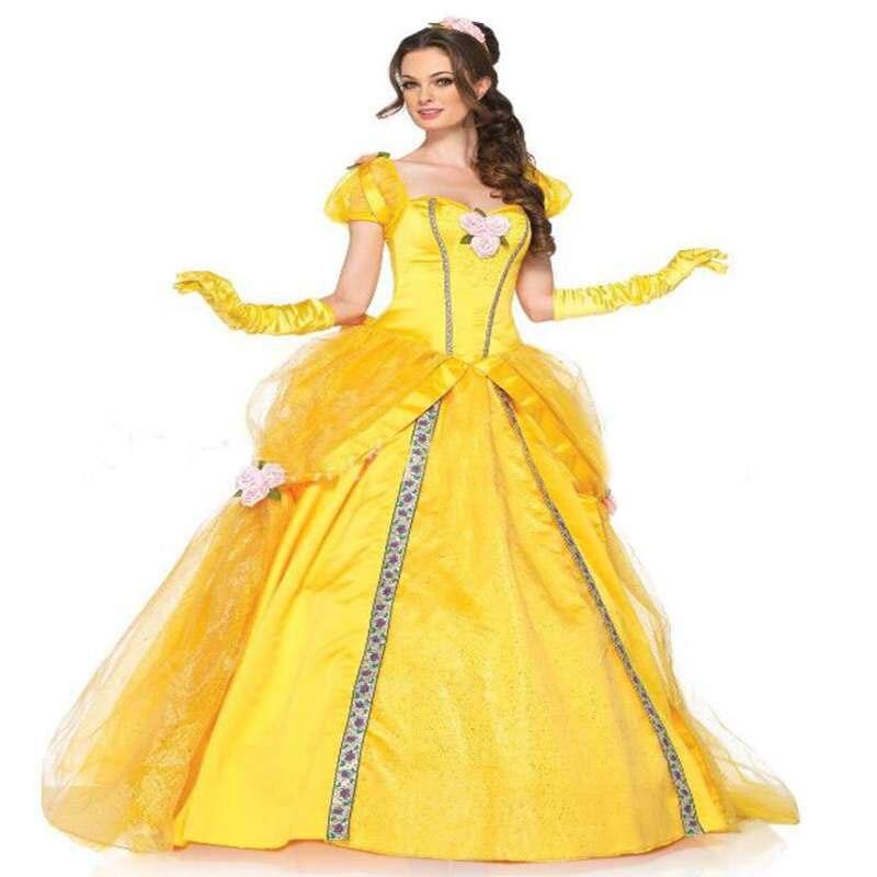 아름다움과 야수 벨 옐로우 롱 드레스 할로윈 의상 벨 공주 드레스 가장 무도회 카니발 성인 벨 역할 정장
