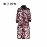 2018 Последние Зима Новое поступление элегантные роскошные леопард печати моды теплый длинное пальто Для женщин