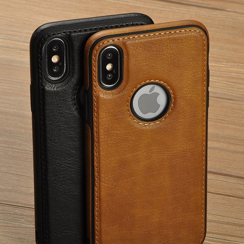 Tikitaka Retro <font><b>Leather</b></font> Case For iPhoneX XS 6s 7 8 Plus Anti-knock Back <font><b>Cover</b></font> Soft TPU Business Shell Phone Case For <font><b>Iphone</b></font> XR XM image