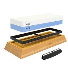 Messenslijper Stone 1000/6000 Grit Dubbelzijdig Slijpsteen Set Voor Messen Met Antislip Bamboe Basis en Gratis Hoek gids