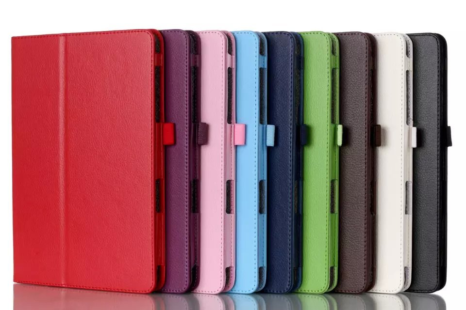 Luxury PU Leather Litchi Stand Case For Samsung Galaxy Tab A 9.7 T550 SM-T550 SM-T551 SM-T555 2 Folding Flip Cover