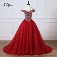 ADLN сильно бисером Бургундия Пышное Бальное Платье Высокое качество дебютантка платье для 15 лет платье сладкий 16 платье