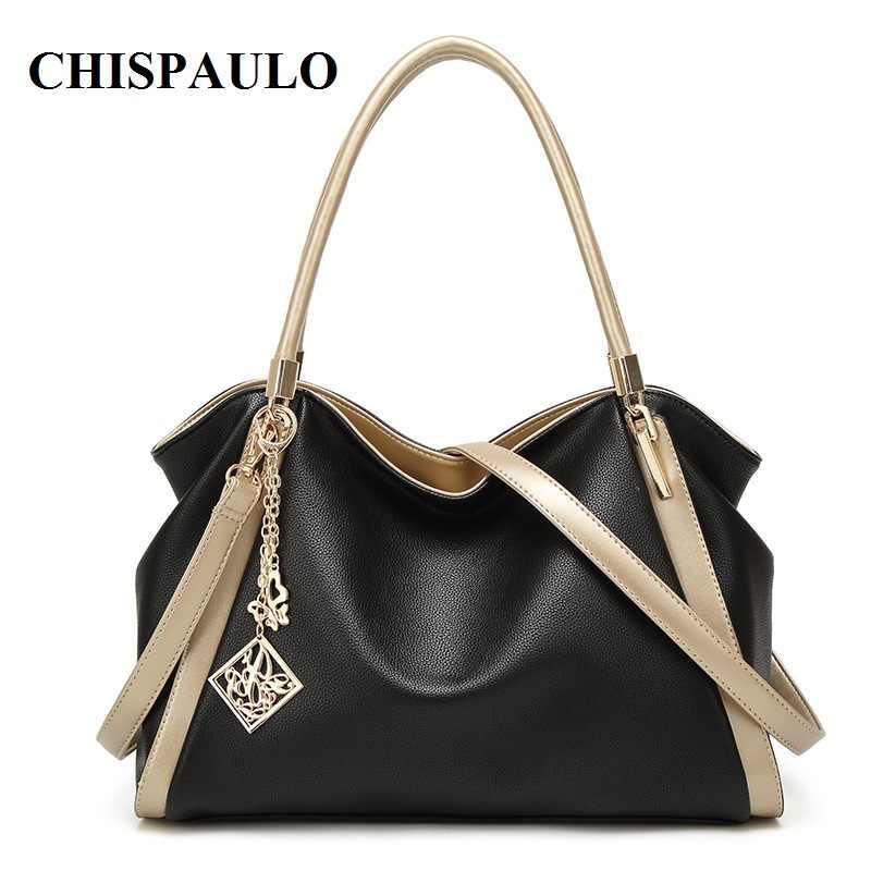 Chispaulo marca designer bolsas de alta qualidade sacos de couro genuíno para as mulheres mensageiro sacos moda feminina sacos de ombro t580
