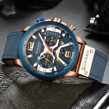 Curren 8329 Men Watch Chronograph Leather Man Watches Waterproof With Box