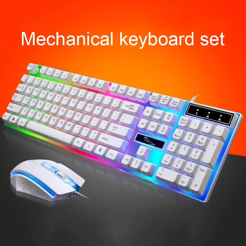 Großhandel Parasolant Wired Usb Led Licht Tastatur Und Maus Set Weiß