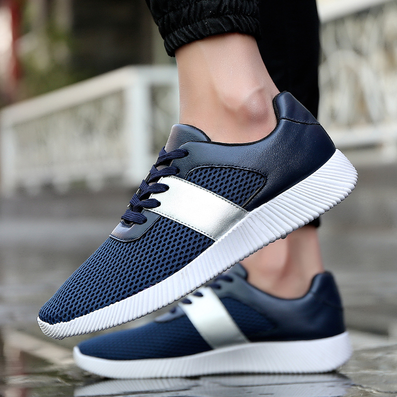 Fooraabo Brand 2017 Men Casual Breathable Shoes Mesh Lace Up Comfortable Walking Shoes Men Spring High Quality Flats Trainers бп atx 500 вт exegate atx500 ppx ex221641rus