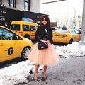 Icono de Estilo de Invierno Una Línea de Faldas de Tul de Cinco Capas EE.UU. Tul Una Capa de Revestimiento de Las Mujeres Saias Femininas Faldas Tutú Adulto Damas de Honor