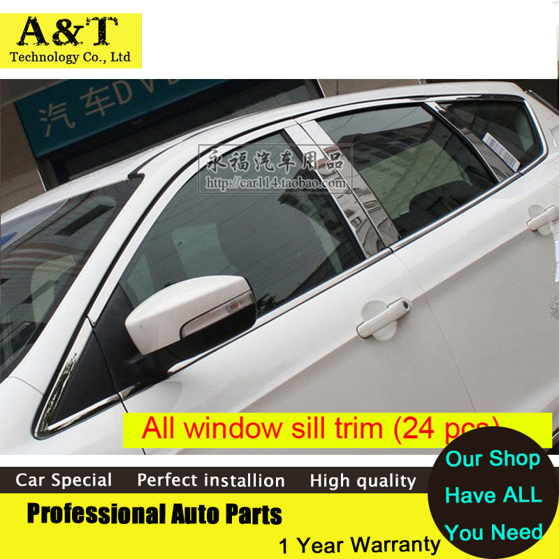 24 PCS Stainless Steel All window sills ( A+B+C pillar ) trims For 2013 2014 2015 Ford Kuga Escape high quality trim car styling high quality car styling stainless steel 26pcs full window frame trim cover with b pillar for suzuki s cross sx4 2014
