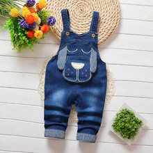 DIIMUU Kids Toddler Baby Boy Girls Overalls Cartoon Clothing Jeans Pants Denim Cotton Casual Buttons Trousers  Suspender Pants недорого