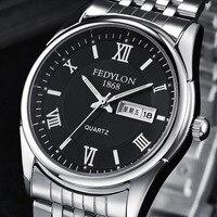 FEDYLON Brand New Mens Wristwatches Fashion Luxury Business Quartz Watch For Man Steel Date Week Dual