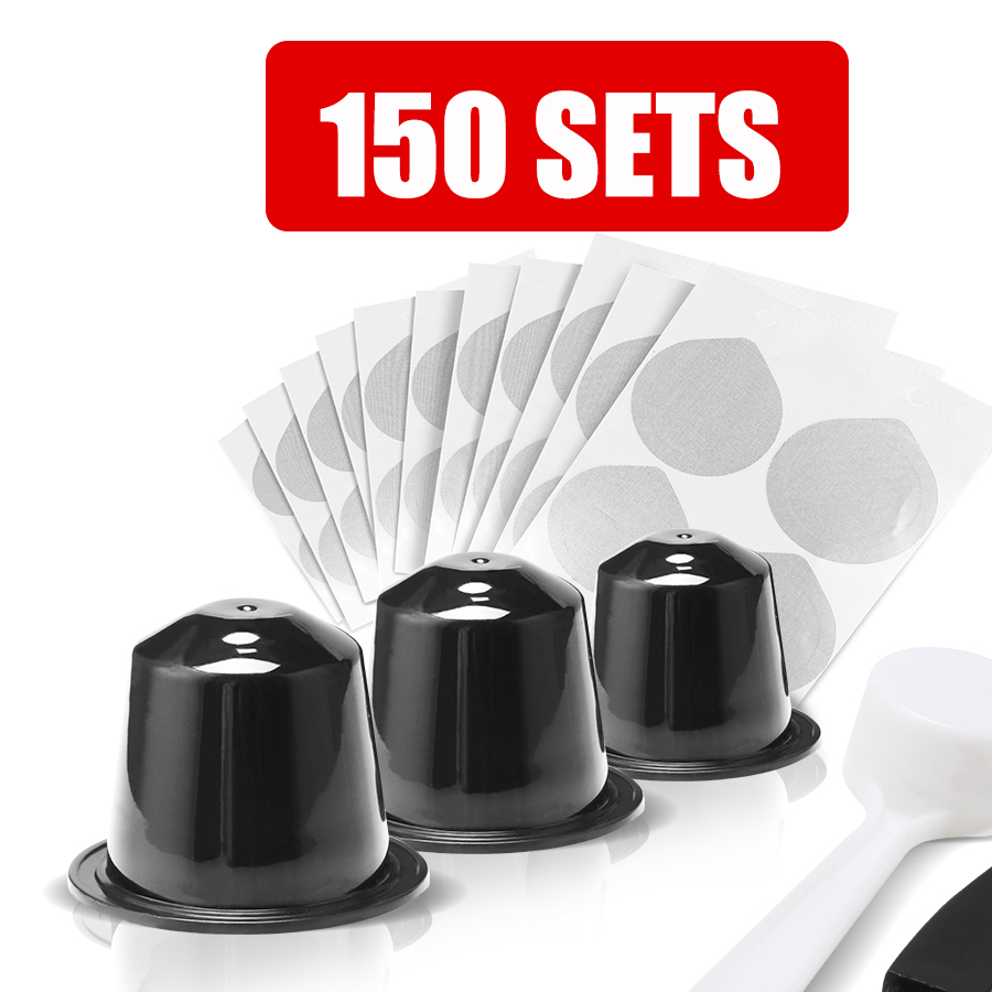 ICafilas 150 Sets Disposiable Empty Nespresso And Adhesive Aluminum Lids Seals For Nespresso Capsule Make DIY Own Coffee