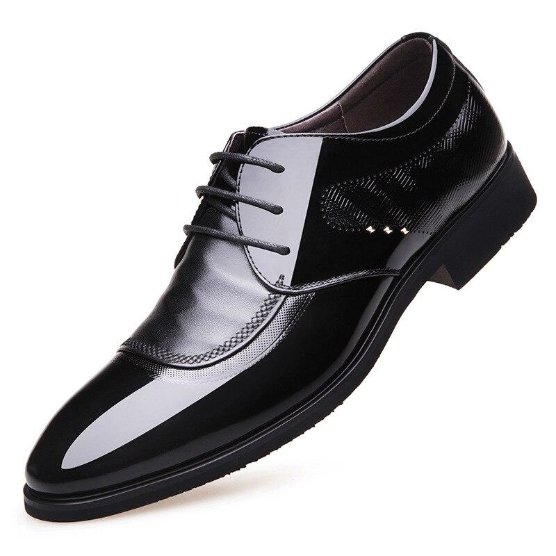 Модные повседневные мужские туфли из воловьей кожи; дышащая деловая обувь из натуральной кожи; Мужские модельные туфли на шнуровке; сезон в... - 2