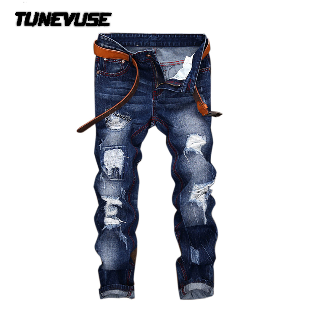 ФОТО 2017 New Fashion Casual trousers Male quality Jeans pants Spring mens jeans Straight trousers Brand clothing Hole Decorative