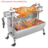 Outdoor BBQ Grills Stainless Steel Fully Automatic Electric Barbecue Grill Roasted Whole Lamb Charcoal Oven 118cm 220v/110v
