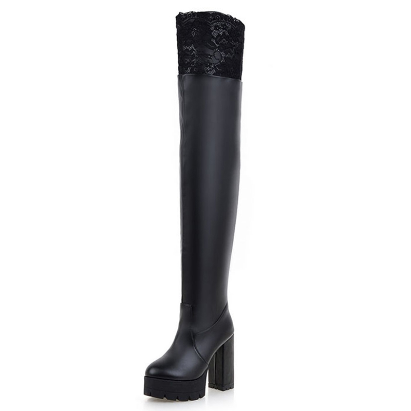 ФОТО Big Size 34-43  Sexy Lace Over The Knee Boots Women's Winter Boots Fashion Thick High Heels Platform Women Shoes Woman