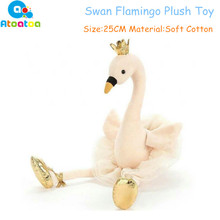 Rosa / Vit / Blå / Röd 25cm Simulering Swan Flamingo Plush Leksaker Söt Wildlife Bird Fyllda Djur Dolls Baby Plush Toy Gifts