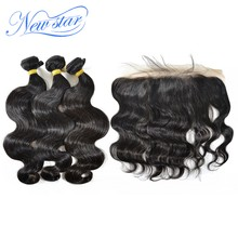 Peruvian Body Wave Virgin Human Hair 3 Bundles Extension With A 13x4 Lace Frontal Closure 100% Unprocessed Raw Hair Weaving(China)
