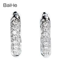 BAIHE Solid 14K White Gold 0.30ct H/SI Natural Diamonds Wedding Engagement Fine Jewelry beautiful customization Stud Earrings