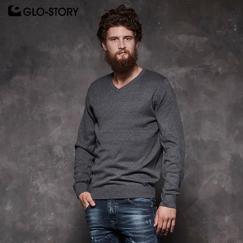 GLO-STORY Для Мужчин's Повседневное одноцветное v-образным вырезом Пуловер Свитера Фитнес нижнее белье 2018 зима 100% хлопковые топы MMY-5521