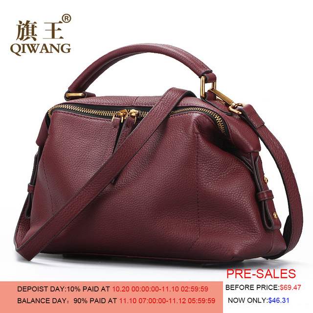 bba32e292216 Qiwang Роскошные Брендовые женские сумки на плечо 100% натуральная кожа  женская дизайнерская сумка мягкая натуральная