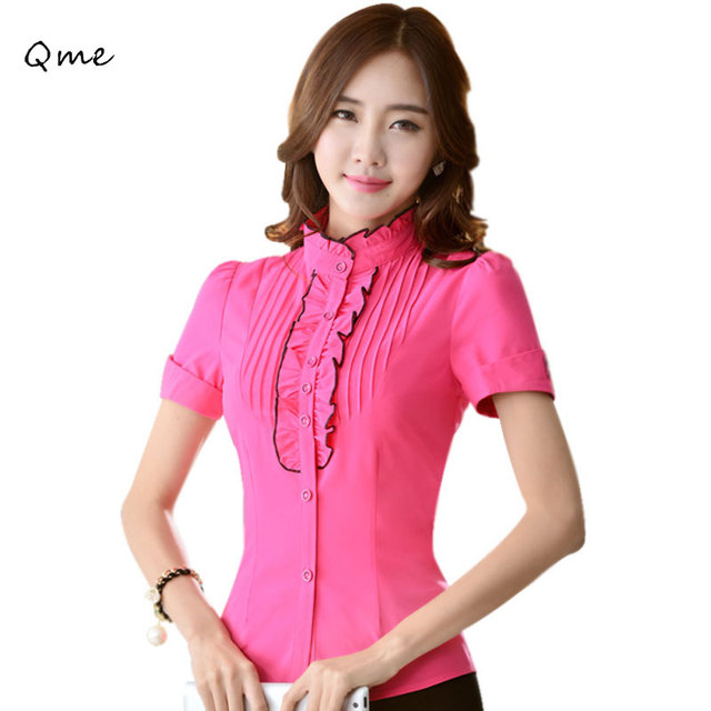 685983cca Mujeres blusas ruffle tops cuello alto blusa plisada manga corta blusas  ladies mujer oficina camisetas rojo
