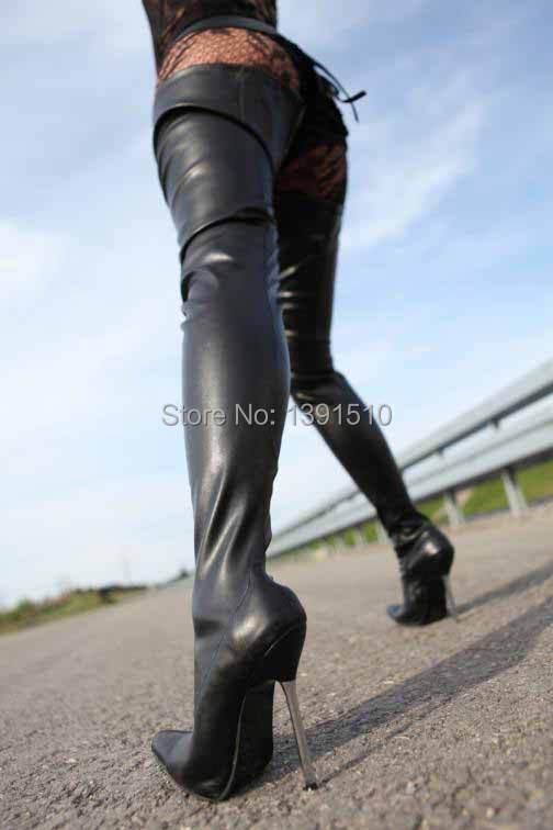 Aliexpress.com : Buy New black Matte PU Leather Thigh High Boots ...
